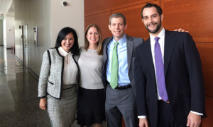 Margot Moss, David Oscar Markus, and Todd Yoder with client Rebecca Gheiler right after she was acquitted in federal court in Orlando (September 2017)