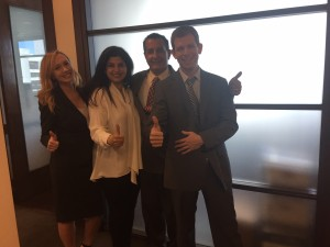 Dr. Michael Bahrami celebrates his acquittal with his wife, and his lawyers, David Oscar Markus and Lauren Doyle